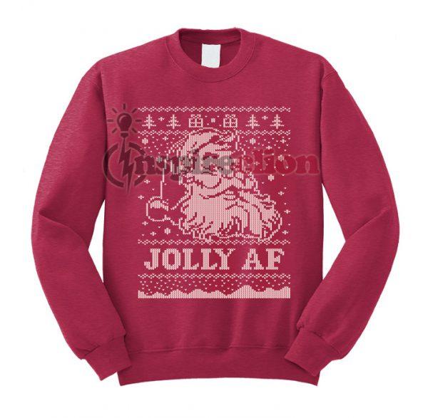 Santa JOLLY AF Ugly Christmas Sweatshirt Special Christmas