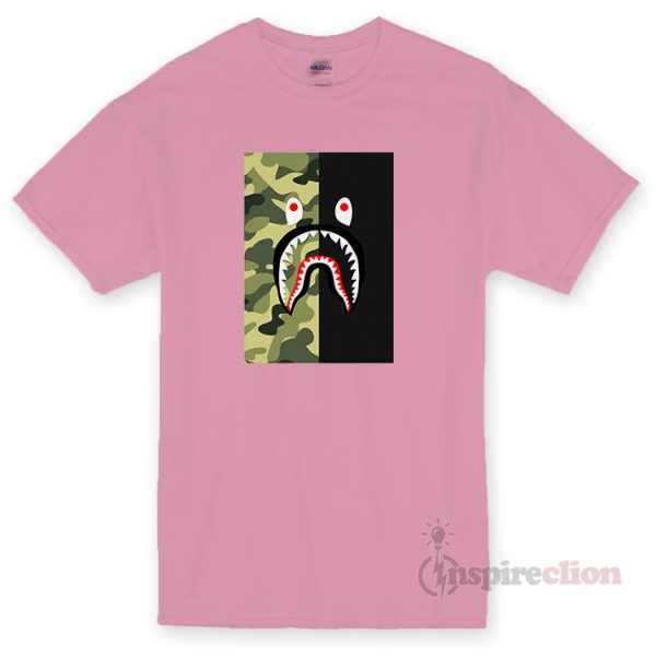 BAPE Shark Half Green Camo T-shirt Cheap Custom