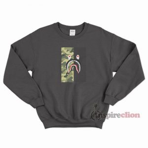 BAPE Shark Half Green Camo Sweatshirt Cheap Custom