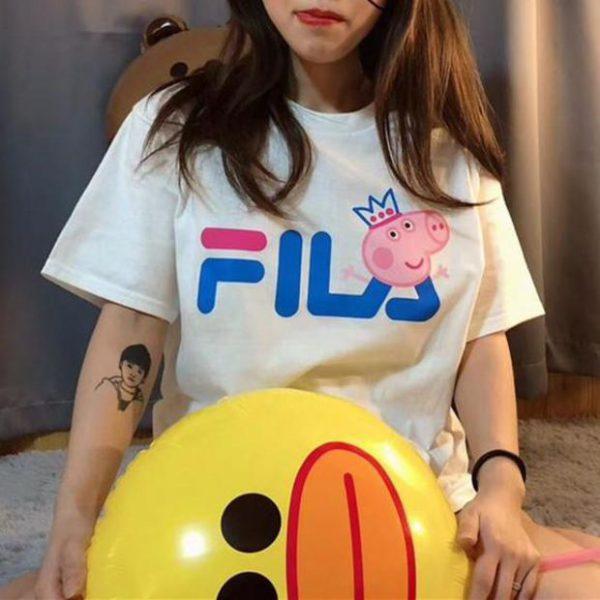 For Sale Fila x Peppa Pig Cartoon T-shirt Cheap Custom