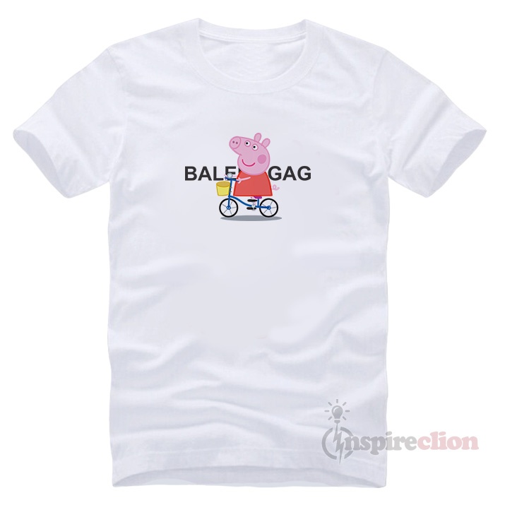 2d842e1198901 For Sale Balenciagag x Peppa Pig Bicycle Cartoon Short Sleeve T-shirt Cheap  Custom Unisex