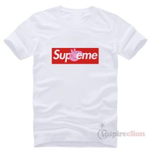 Supreme Red Box Collab Peppa Pig Logo T-shirt Unisex