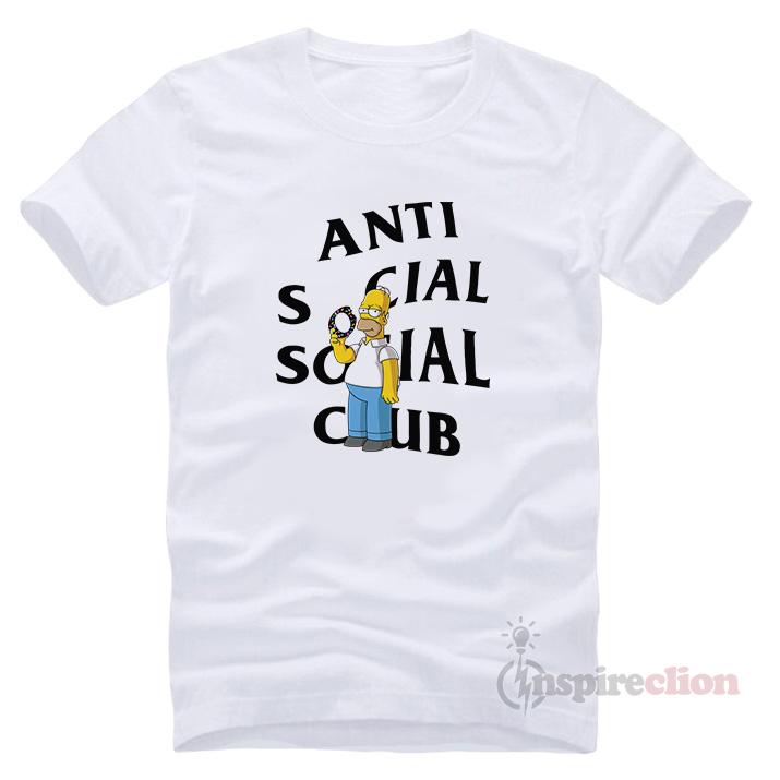 ba6dc3f40f5e Anti Social Social Club ASSC Homer Simpson T-shirt - Inspireclion.com
