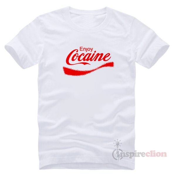 Enjoy Cocaine Coca Cola ParodyT-shirt Cheap Custom (RED PRINTED)