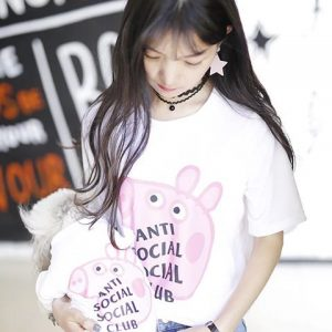 Anti Social Social Club Collab Peppa Pig Funny T-Shirt