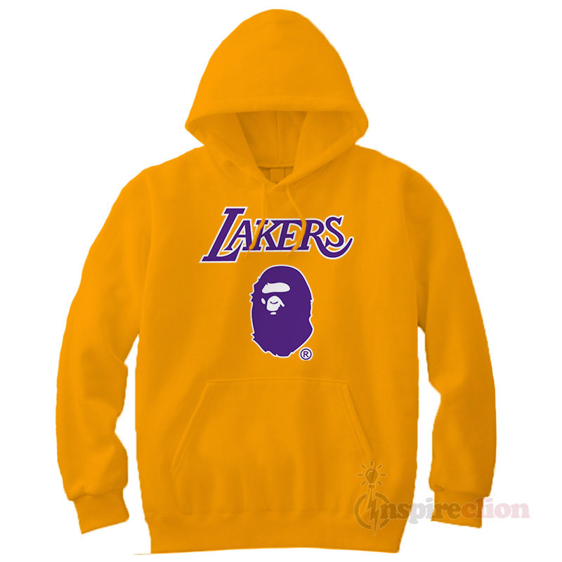 ecb04f94989 Bape x Mitchell Ness Lakers Hoodie Custom