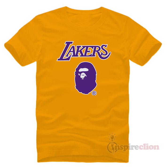 57204e840a1 Bape x Mitchell Ness Lakers T-Shirt - Inspireclion.com