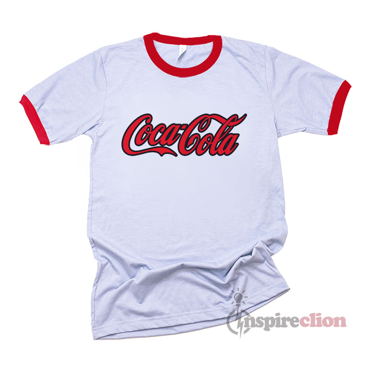 308cf3d9955 Coca Cola Logo With Storke Ringer T-shirt - Inspireclion