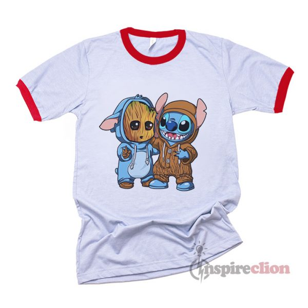 Stitch And Baby Groot Ringer T-Shirt