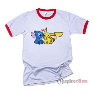 Disney Stitch And Pokémon Pikachu Ringer T-Shirt