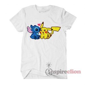 Stitch And Pokémon Pikachu T-shirt