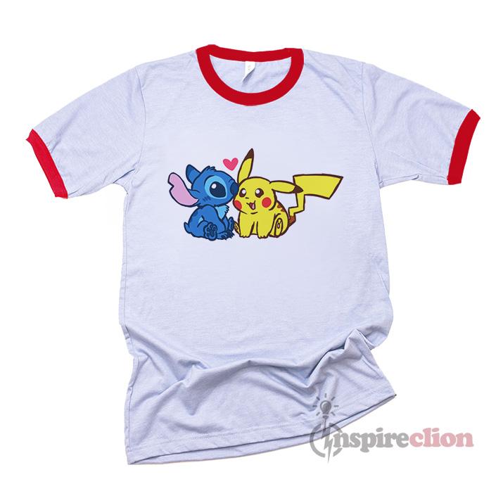 4024bf45cd95 Disney Stitch And Pokémon Pikachu Ringer T-Shirt - Inspireclion.com
