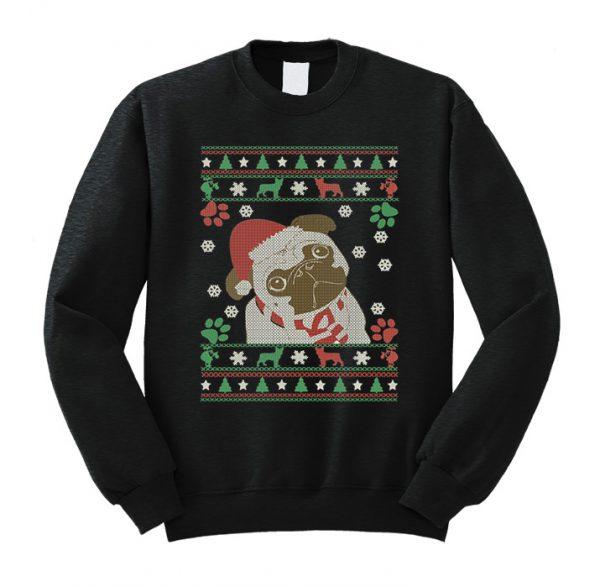 Boston Terrier Merry Woofmas Christmas Dog Gift Sweatshirt