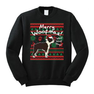 Boston Terrier Merry Woofmas Sweatshirt Costume Christmas