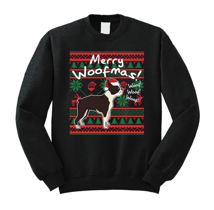 Boston Terrier Merry Woofmas Sweatshirt Costume Christmas