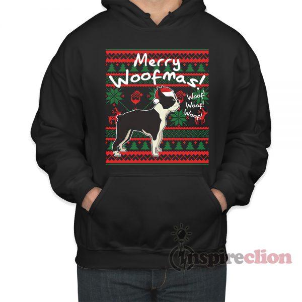 Boston Terrier Merry Woofmas Hoodie