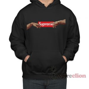 Supreme Box Logo x Michelangelo Hands of God and Adam Hoodie