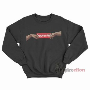 Michelangelo Hands of God x Supreme Red Box Logo Sweatshirt