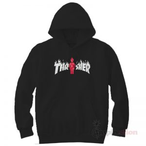 Thrasher Magazine x Girl Skateboard On fire Hoodie