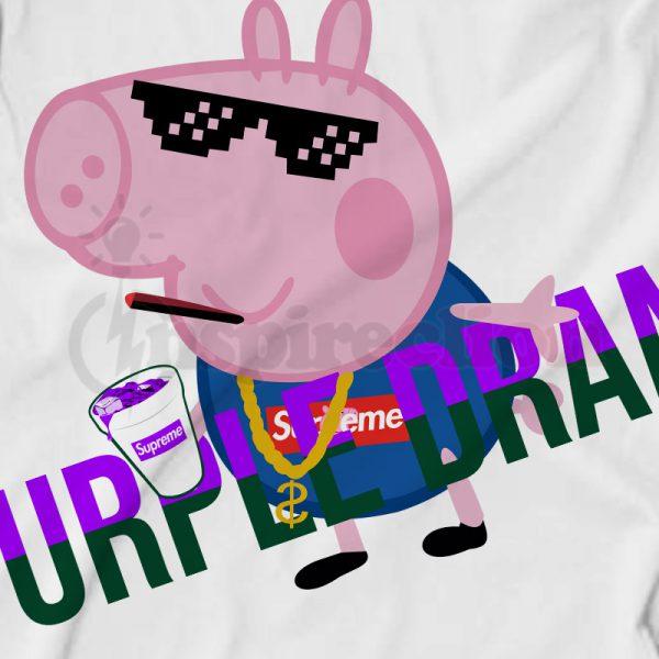 Gacci Peppa Pig On Supreme Purple Drunk T-shirt