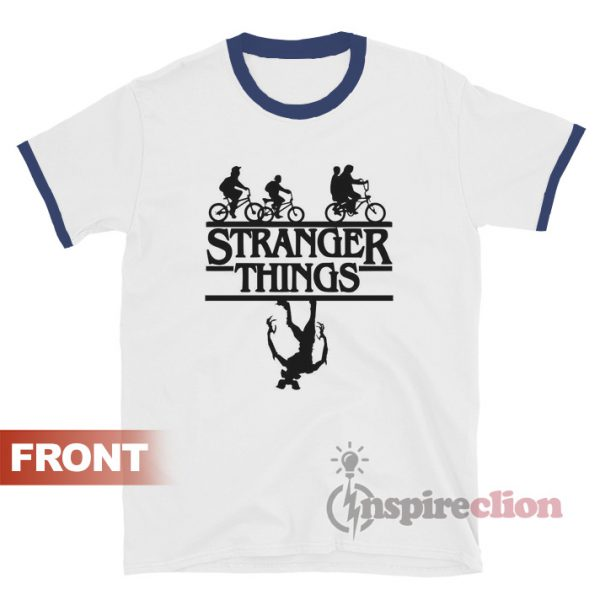 Stranger Things Bicycle Up Side Down Ringer T-shirt