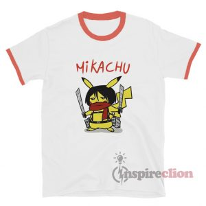 Pikachu In Attack On Titan Ringer T-Shirt Custom Unisex