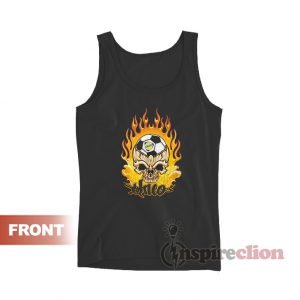 Vintage JNCO Jeans Flaming Skeleton Galaxy Soccer Tank Top