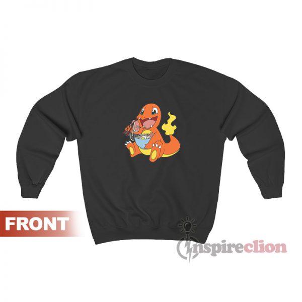 Charmander Eating Ramen Pokemon Custom Sweatshirt
