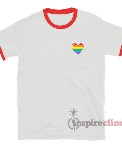 Rainbow Pride Heart Flag Girls Ringer T-Shirt