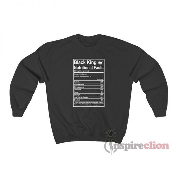 Black King Nutritional Facts Sweatshirt